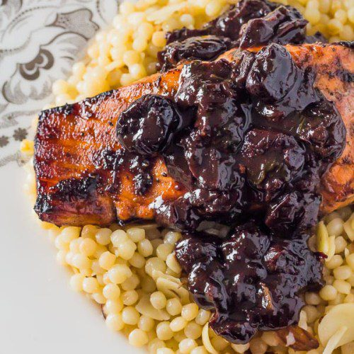 Romantic dinner Recipe for Chipotle Cherry Sauce over Broiled Salmon on a bed of Lemony Israeli Couscous