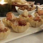Mango Pineapple Chutney, goat cheese and Shrimp in a filo dough cup. Spoonabilities.com