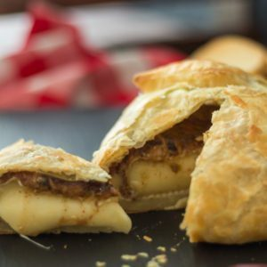 Baked Brie Jam in Puff Pastry with Almond Butter. Featuring our Jalapeño Raspberry Jam at Spoonabilities.com