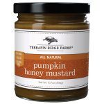 Pumpkin Honey Mustard. Pumpkin puree, cinnamon, ginger, nutmeg and allspice are blended with honey mustard to create an incredible condiment. You will not run out of ways to enjoy this amazing mustard. Fat Free. Vegan. Gluten Free. Find this and more @Spoonabilities $7.99