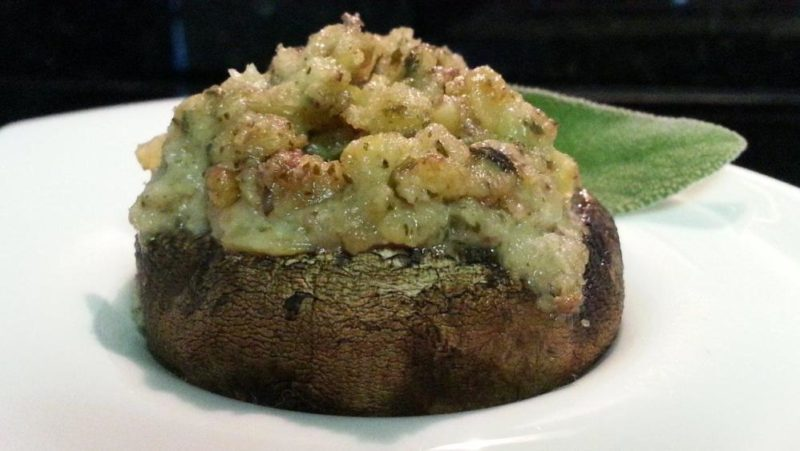 Stuffed Mushroom with Artichoke Pesto