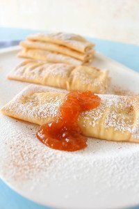 Crepes with Pear Apricot Honey Jam Filling