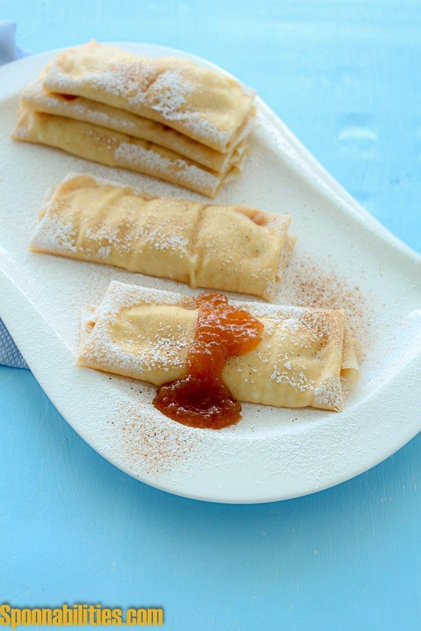 Crepes with Pear honey Jam filling. find this recipe and the Pear Honey Jam At Spoonabilities.com