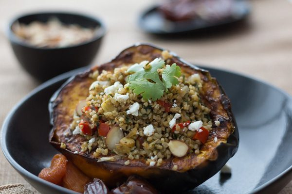 MOROCCAN STUFFED ACORN SQUASH RECIPE WITH DATE SAUCE at Spoonabilities. Featuring the product Moroccan Date Sauce
