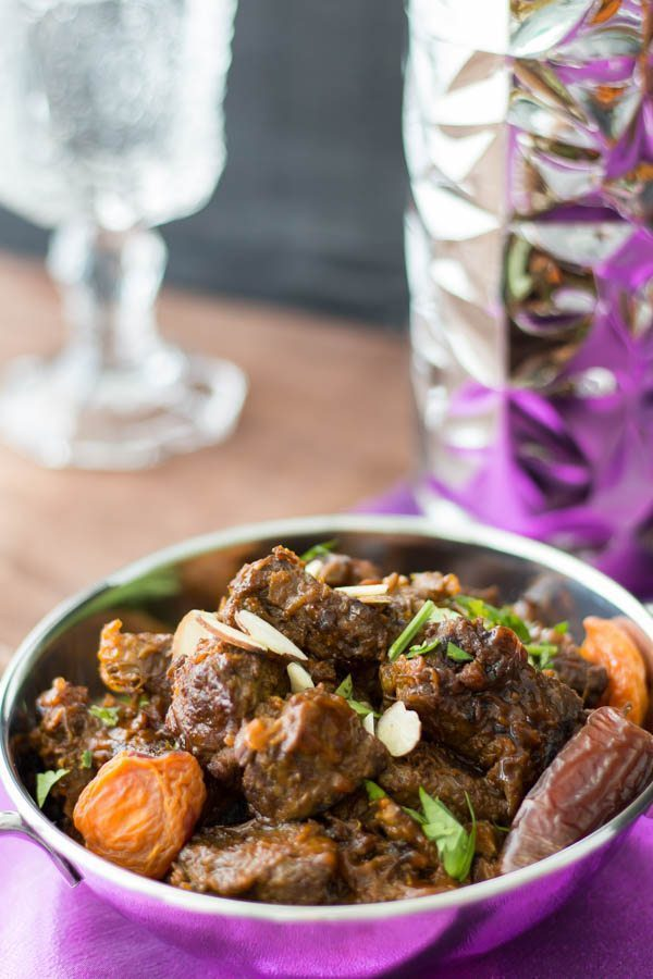 Moroccan Beef Tagine Pot with Date Sauce & Apricots. Featuring our Moroccan Date Sauce from Spoonabilities.com