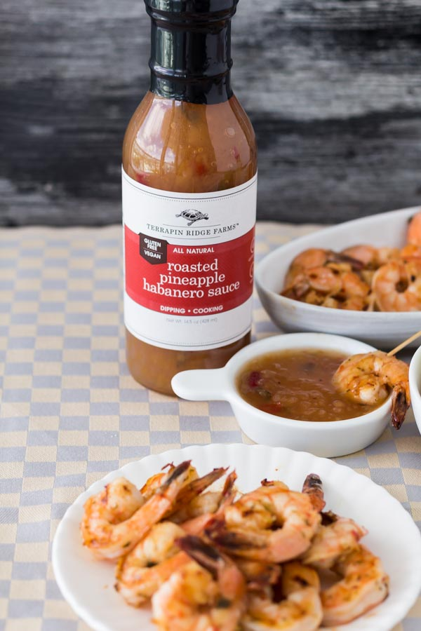 Pan Grilled Shrimp with Roasted Pineapple Habanero Sauce. Featuring the spicy, sweet and charred Roasted Pineapple Habanero Sauce, price $7.99. Find this product and more easy recipes at Spoonabilities.com