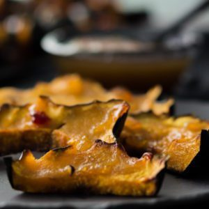 Roasted Acorn Squash Slices with Pineapple Habanero Sauce . 30-minutes meal with two ingredients recipe. The squash has a sweet taste with a hint of spice. Find this Recipe and more at Spoonabilities.com
