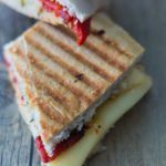 Smoked Turkey Artichoke Panini sandwich was made with Ciabatta sandwich roll, roasted red pepper and smoked Turkey and the Mozzarella cheese. As a spreadable with used the Artichoke Parmesan Tapenade. Find this product and more recipe ideas at Spoonabilities.com
