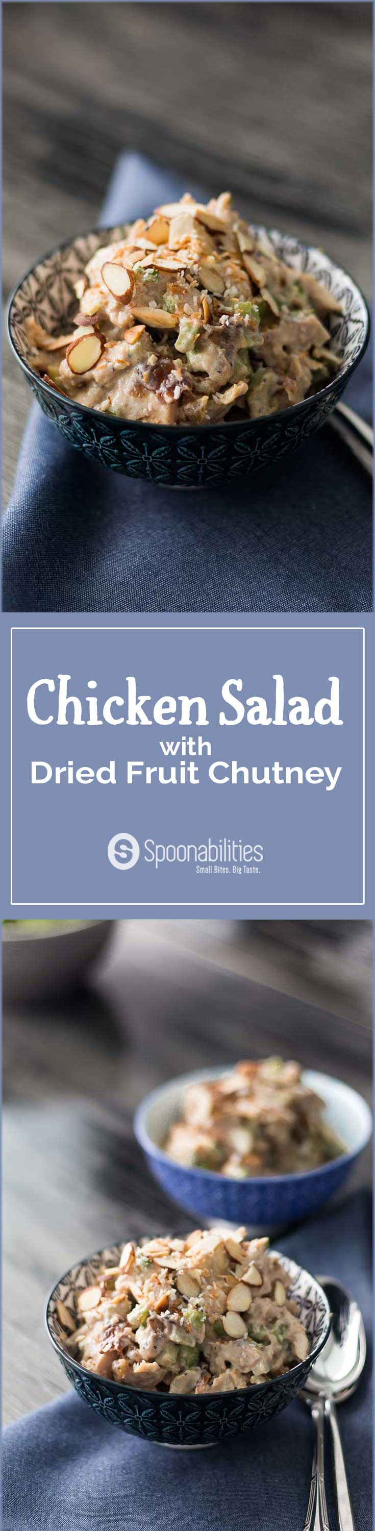 Easy Chicken Salad Recipe with Dried Fruit Chutney.Serve on lettuce & top with toasted almonds & toasted coconut flakes. This is unique and Tasty Salad. Spoonabilities.com