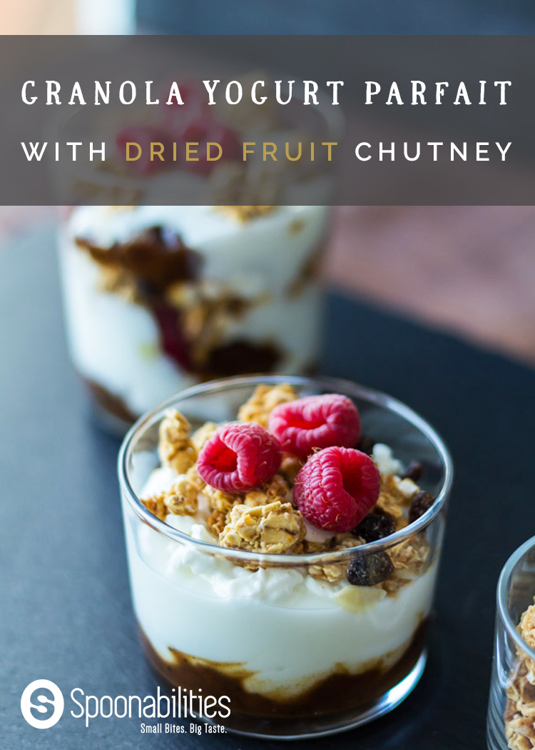 Granola Yogurt Parfait: Yogurt Parfaits are all the rage these days and for good reason… they are healthy, quick and delicious! We layered yogurt, Dried Fruit Chutney and granola in one of our favorite versions of the Yogurt Parfait. Great for breakfast, a snack, lunch or dessert. What would you layer in yours? #breakfast #yogurtparfait #Spoonabilities