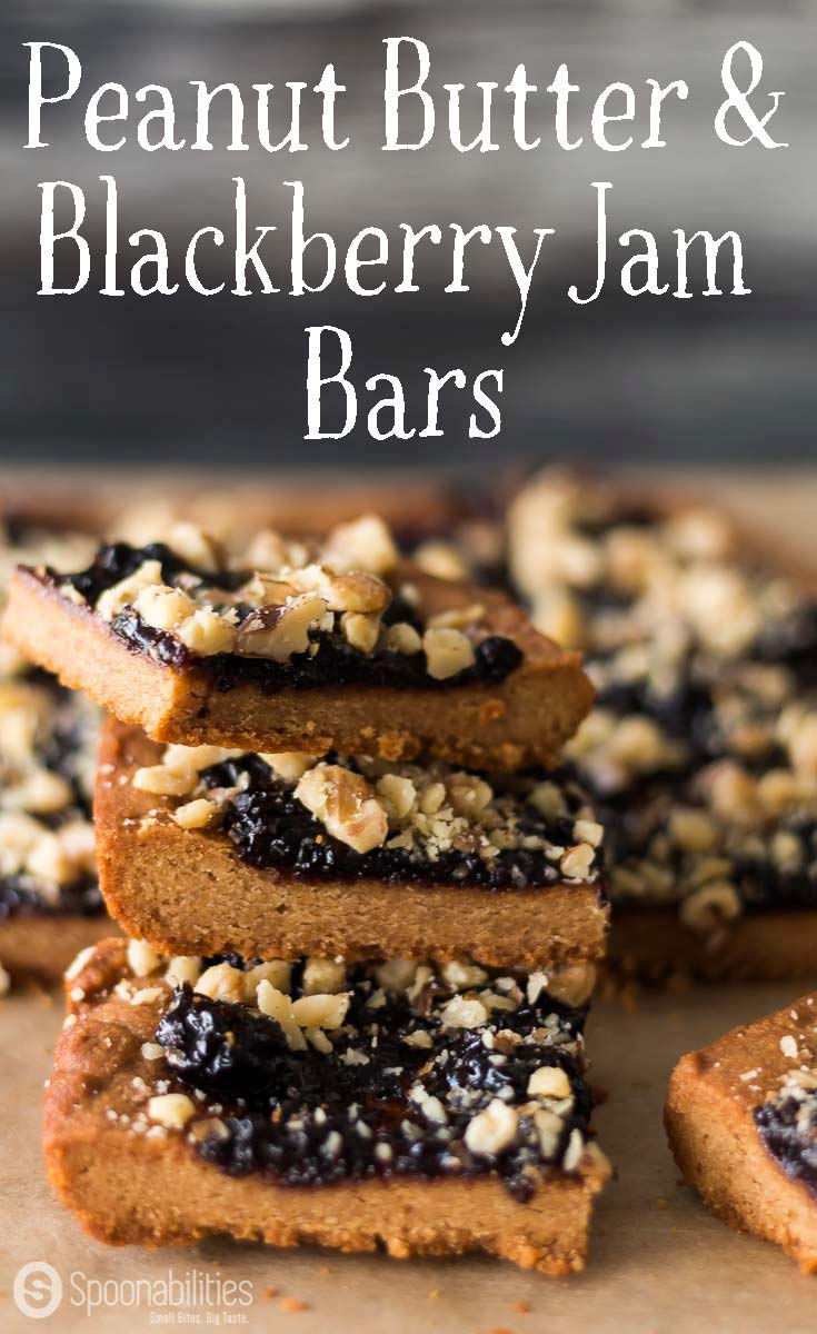 Peanut Butter Jelly Bars are sweet and delicious. Think PB&J sandwich + Energy Bar. This recipe is also Vegan and Gluten Free. Good source of energy for breakfast or a snack. We use L'Epicurien Wild Blackberry Preserve