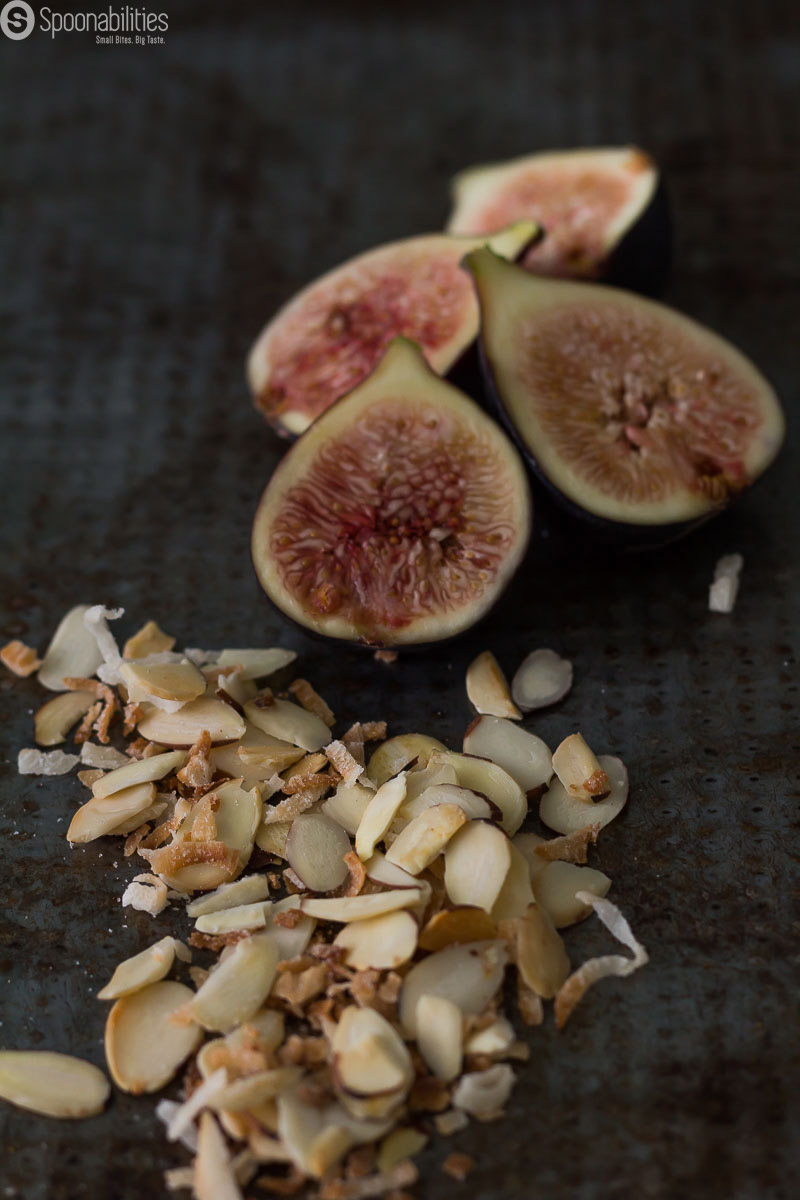 Toasted Almond & Coconut flakes and Black Mission figs from California. Photo for the Blog Post Ice Cream Toppings from Spoonabilities.com