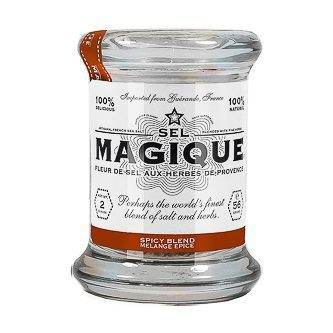 Fleur De Sel French Sea Salt Spicy Blend Small Jar. 2 oz jar with Fleur de Sel de Guérande with Thyme, Rose Peppercorn, and Chili Pepper. Blended by hand in France, 100 % Natural. Vegan, vegetarian- GMO & gluten free. Spoonabilities.com