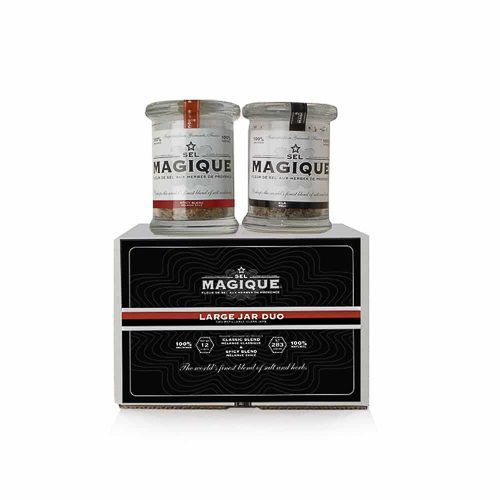 Fleur de Sel French Sea Salt Jar Duo Classic and spicy – a perfect set. Three 6-oz pressed glass jars in Box. Batch-blended by Hand in France, 100 % Natural. Vegan, Vegetarian- GMO & Gluten Free