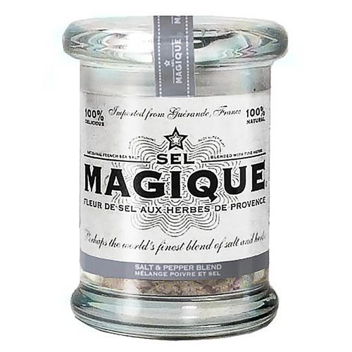 Fleur de Sel French Sea Salt Pepper Blend Small Jar. Blended by hand from all-natural ingredients: Fleur de Sel de Guérande and Black Peppercorn. Try this gourmet salt at Spoonabilities.com