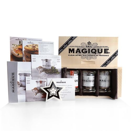 Fleur de Sel Sea French Sea Salt Small trio Sel Magique blends – a perfect set. Three 2-oz pressed glass jars Wood Presentation Box. Batch-blended by Hand in France, 100 % Natural. Vegan, Vegetarian- GMO & Gluten Free