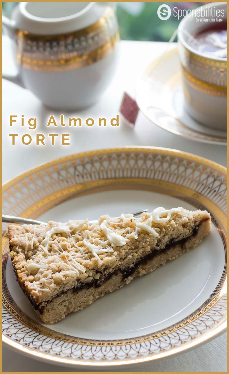 Fig Almond Cake Crumble Recipe is my kind of torte dessert because it has all my favorite ingredients like Fig Almond Spread, cardamom, ground Almonds and Grand Marnier. Easy Fig Torte Recipe. Spoonabilities.com