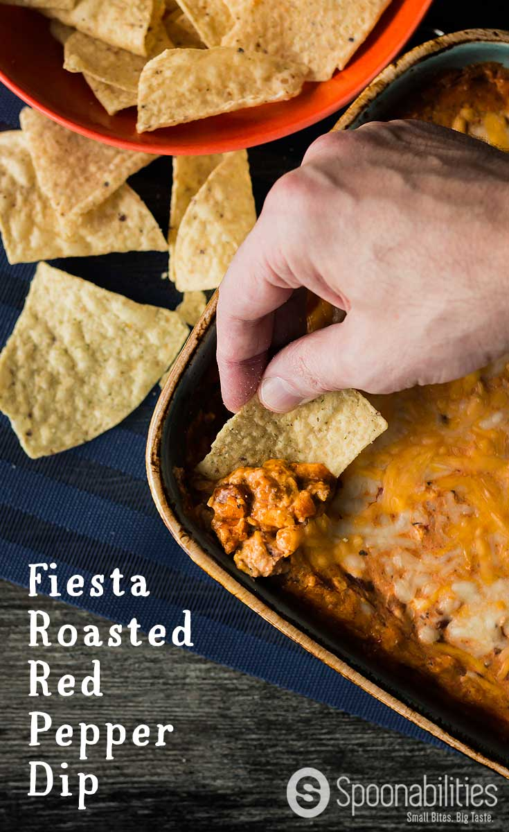 Fiesta Roasted Red Pepper Dip is the perfect vegetarian appetizer or starter for any weekend party or Sunday football game. You can make this recipe ahead in 5 minutes for an easy dip with tons of flavors. Easy, Fast, Make Ahead, Vegetarian. Spoonabilities.com