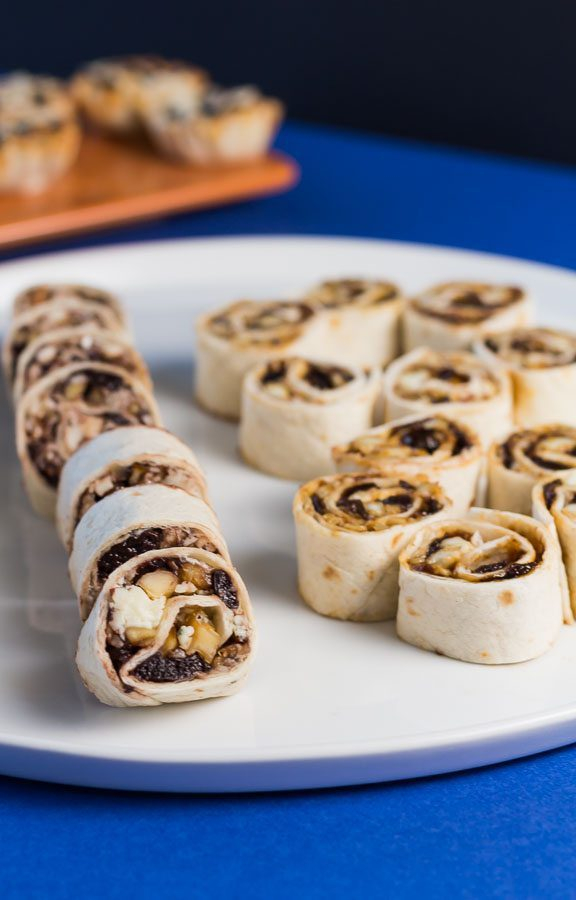 Fig Almond & Brie Cheese Tortilla Roll Ups is another recipe from our easy 1-2-3 recipe collection. This appetizer is ready in less than 15 minutes. Fig Almond & Brie Cheese Tortilla Roll Ups is soft, sweet and crunchy. Made with our Fig Almond Spread. Spoonabilities.com