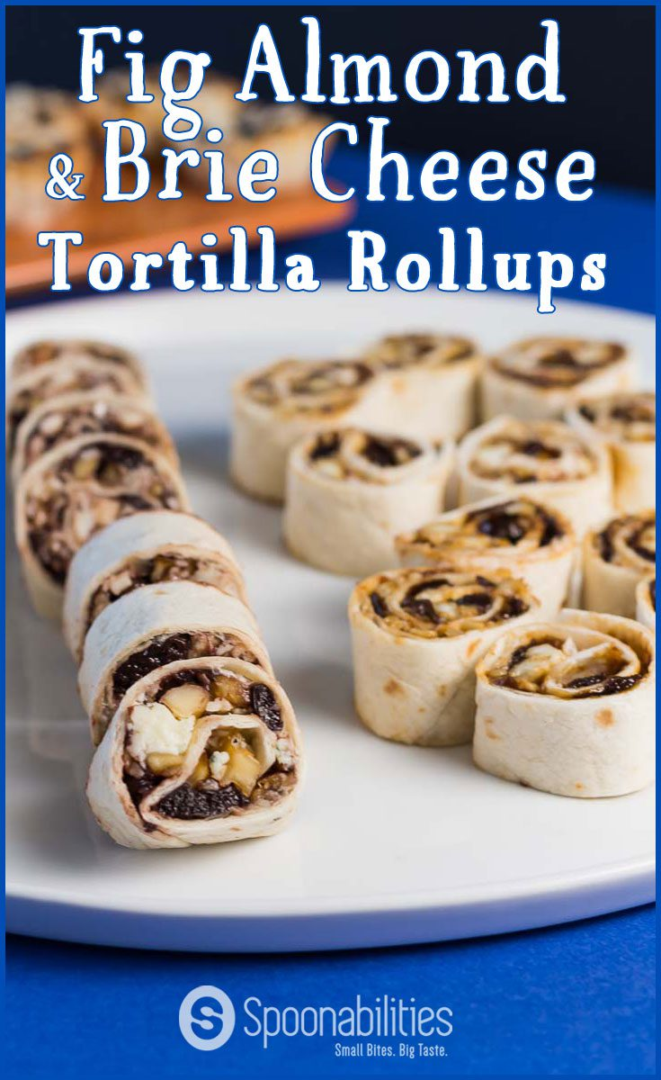 Fig Almond & Brie Cheese Tortilla Roll Ups is another recipe from our easy 1-2-3 recipe collection. This appetizer is ready in less than 15 minutes. These Roll Ups are soft, sweet and crunchy. Made with our Fig Almond Spread. Spoonabilities.com