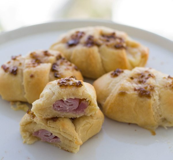 Ham & Cheese Croissant Crescent Rolls with Raspberry Jalapeño Jam