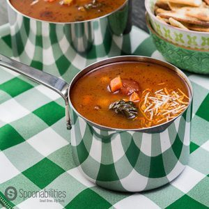 Hearty Vegetable Soup recipe is my favorite comfort food to make any time of the year. This soup has a rich tomato base flavor with a delicious hint of spiciness from the Chile Red Pepper Tapenade. Available At Spoonabilities.