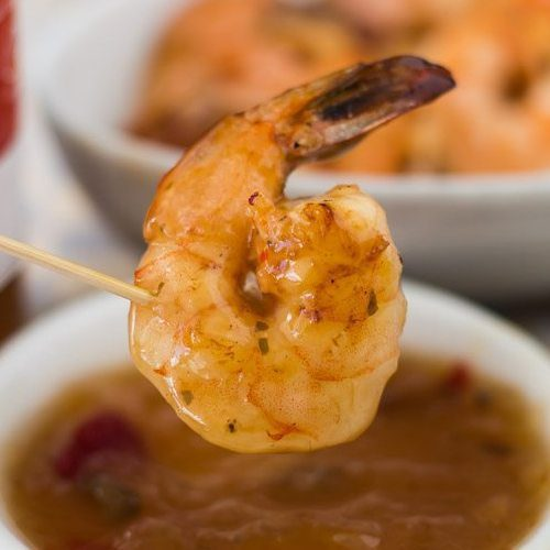 Pan Grilled Shrimp with Roasted Pineapple Habanero Sauce. Featuring the spicy and sweet Roasted Pineapple Habanero Sauce at Spoonabilities.com