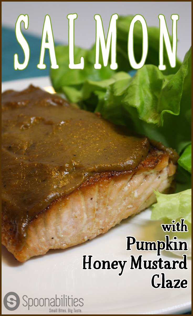 This Salmon with Pumpkin Honey Mustard Glaze is my go-to recipe when I cook salmon. Its is easy to make with 3 steps, the mustard topping keeps the salmon moist and gives a lot of flavor with only one ingredient. You can make this dish in 15 minutes for any weeknight dinner. Spoonabilities.com
