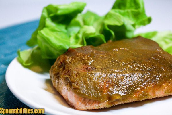 Salmon recipe with a Pumpkin Honey Mustard Glaze. Perfect for the Fall Season or any time of the year. This is my go-to recipe when I cook salmon. Easy to make and the mustard glaze keeps the salmon moist. You can make this dish in 15 minutes. Spoonabilities.com