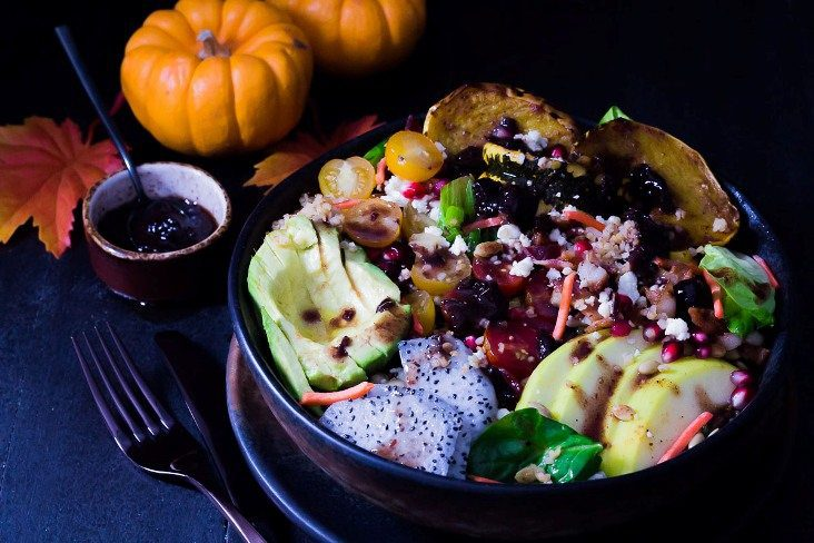 Recipe for Cherry Vinaigrette Dressing on Autumn Harvest Salad with Pumpkin Honey Mustard and Roasted Garlic Cottonseed oil mixed in a mason jar. With Pomegranate Seed, Avocado, Cherry Tomato, Dragon Fruit & Dumpling Squash. Spoonabilities.com