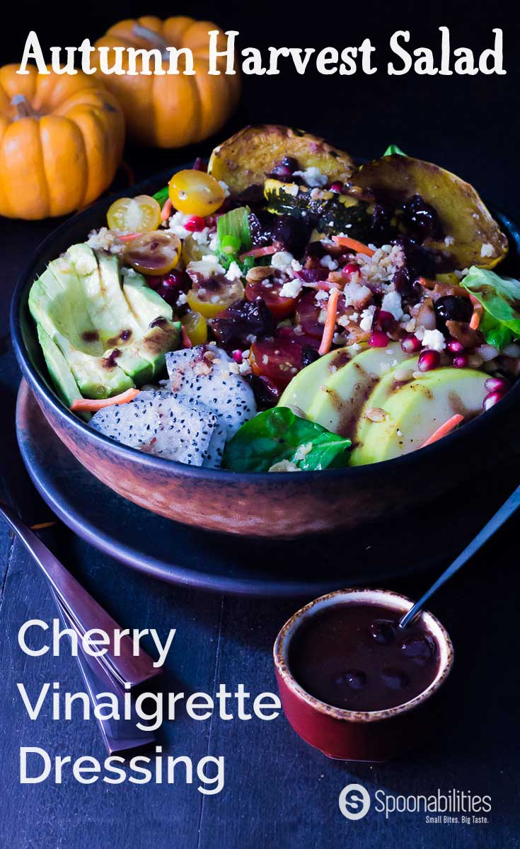 Recipe for Cherry Vinaigrette Dressing on Autumn Harvest Salad with Pumpkin Honey Mustard and Roasted Garlic Cottonseed oil mixed in a mason jar. With Pomegranate Seed, Avocado & Dumpling Squash. Spoonabilities.com