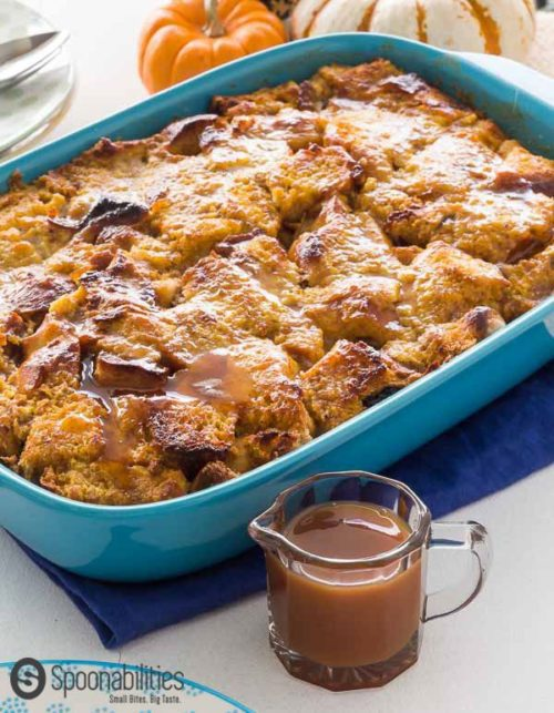 Fall Pumpkin Bread Pudding with Caramel Sauce or Cinnamon Maple Syrup.