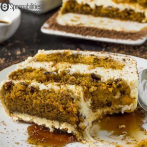 closeup shot of single slice of Pumpkin Tiramisu Cake
