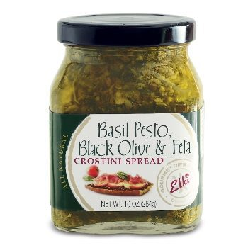 Basil Pesto, Black Olive & Feta Crostini Spread - Produced by Elki. Spoonabilities.com $9.99