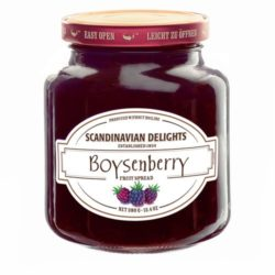 Boysenberry Fruit Spread from Scandinavian Delight produced by Elki. Boysenberries are a hybrid of raspberries and blackberries. Sweet and rich with a deep reddish purple color, this jam is great on pancakes, waffles and French toast. Spoonabilities.com