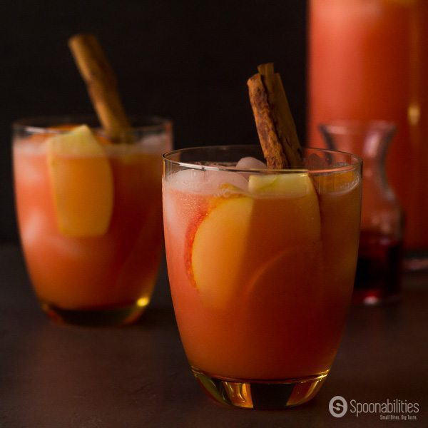 Caramel Apple Cider Vodka Punch recipe or also call Spiked Caramel Apple Cider is sweet, fruity, festive and alcoholic beverage to celebrate the holidays. Spoonabilities.com