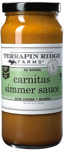 The Carnitas Simmering Sauce has the traditional flavor of Chile de Arbol, orange juice, and Mexican & Southwestern spices are some of the ingredients making our Carnitas Meal Starter mouthwatering. Producer Terrapin Ridge Farms, available at Spoonabilities.com