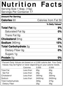Chipotle Squeeze Garnishing Sauce Nutrition Facts