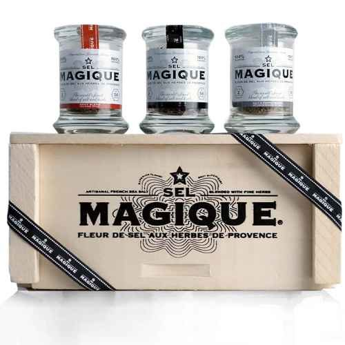 Fleur de Sel Sea French Sea Salt Small trio Gift Set by Sel Magique. A perfect set of three 2oz pressed glass jars, wood presentation box. Spoonabilities.com