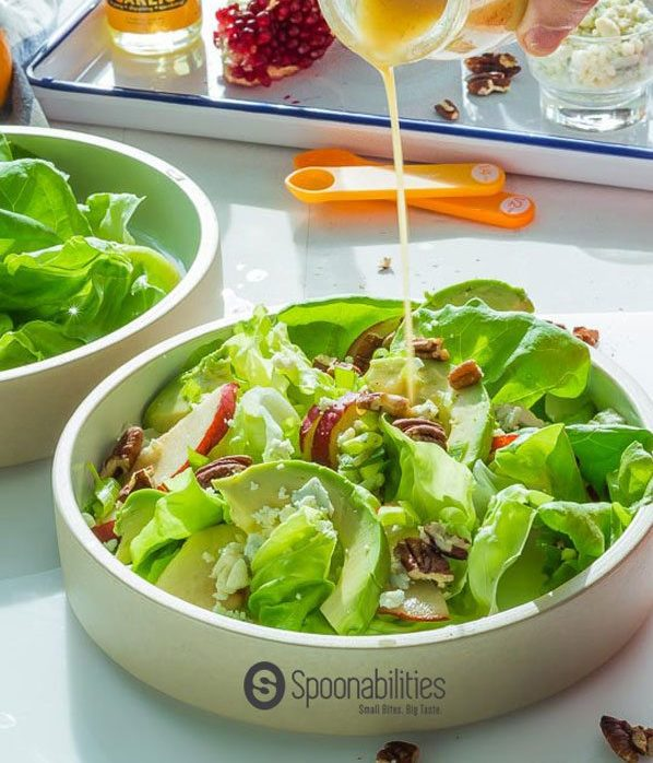 Pumpkin Honey Mustard Vinaigrette is what brings all the flavors together in this Roquefort Pear Salad. This vinaigrette is sweet, fruity, tangy, and with the warm spices from the Fall/Autumn. Spoonabilities.com