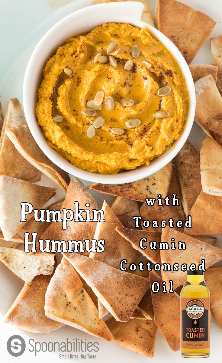 Pumpkin Hummus with Toasted Cumin Cottonseed Oil (for sale) is the perfect appetizer recipe for the Autumn season. Very easy to make by mixing chickpeas, Pumpkin Puree, Tahini, Garlic, Parsley & Toasted Cumin Cottonseed Oil. This appetizer is a great option for your Thanksgiving dinner. Spoonabilities.com