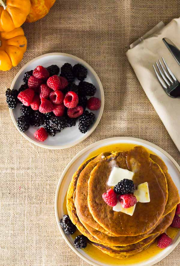 Add the Spiced Pumpkin Pancake to your weekend menu for breakfast or brunch. Homemade recipe for Pumpkin Spice Pancake Mix, milk, egg, canned pumpkin puree, vanilla and vegetable oil. I used my favorite Pumpkin Spice Syrup. Spoonabilities.com