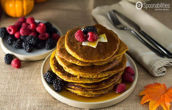 Add the Spiced Pumpkin Pancake to your weekend menu for breakfast or brunch. Made with homemade Pumpkin Spice Pancake Mix and my favorite - Pumpkin Spice Syrup - which is made with real pumpkin. Spoonabilities.com
