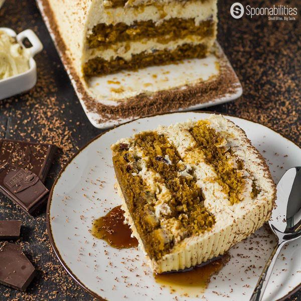 Big slice of THE BEST Pumpkin Tiramisu Cake Recipe with Coffee-Maple Mascarpone Cream.