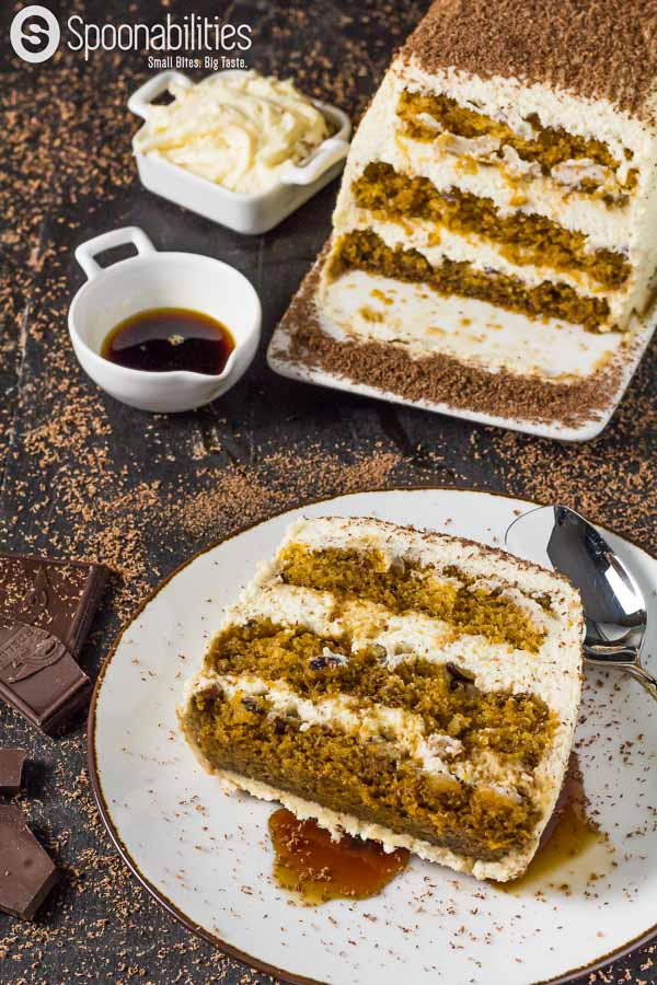 Pumpkin Tiramisu Cake Recipe with Pumpkin Spice Mascarpone Cream. Pumpkin Spice Syrup. Spoonabilities.com