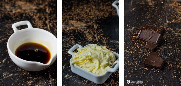 Ingredient bowls of coffee syrup, maple-coffee mascarpone cream, and shaved dark chocolate