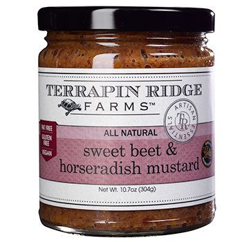 Sweet Beet and Horseradish Mustard is perfect as a condiment with roast beef sandwiches, prime rib, grilled salmon, pork tenderloin or in bagel and lox. This Gourmet Spicy Mustard is produced by Terrapin Ridge Farms, available at Spoonabilities.com
