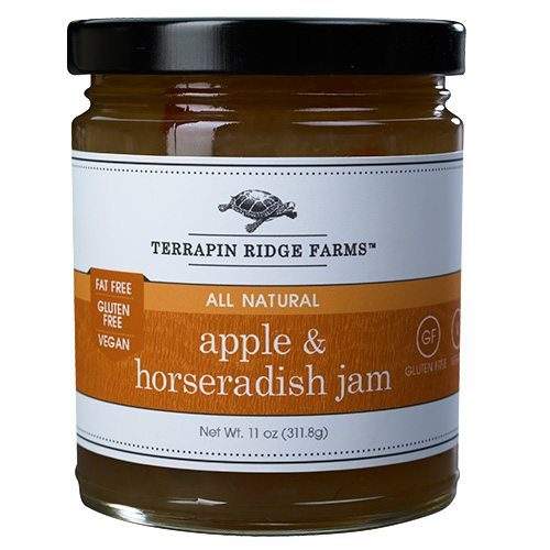 The Gourmet Jam Gift Set includes Apple Horseradish Jam Your taste buds will be delighted with the unusual combination of naturally sweet apple juice and the hearty kick of horseradish. Producer Terrapin Ridge, available at Spoonabilities.com