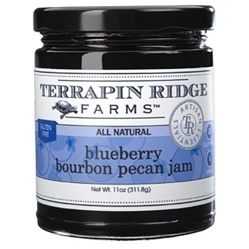 Gourmet Jam Gift Set includes Blueberry Bourbon Pecan Jam Blueberries bursting with flavor are married with pecans, raisins, cinnamon and a splash of bourbon. All natural and gluten free. Producer Terrapin Ridge, available at Spoonabilities.com