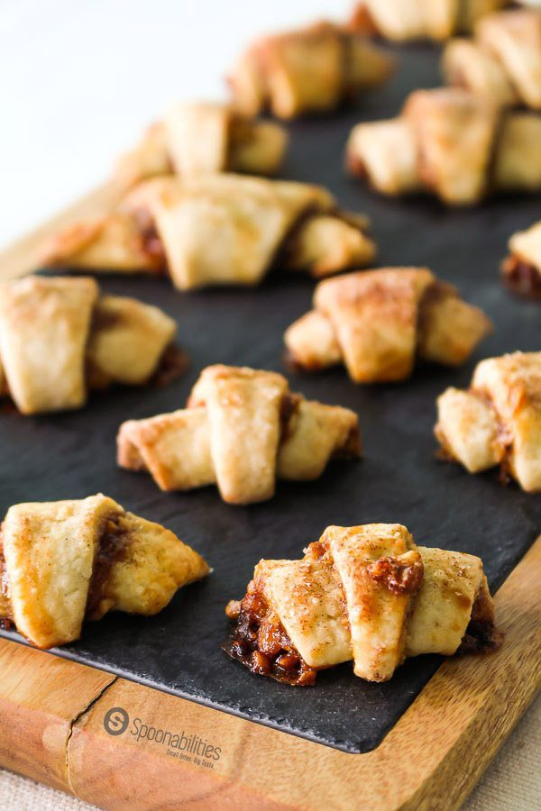 Easy Rugelach, Easy Rugelach cookies, walnut filled jam, Fig Jam, Jewish dessert, holiday, Hanukkah, Christmas cookie. Fig Jam Available at Spoonabilities